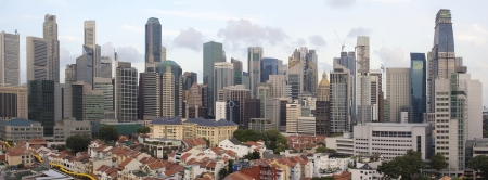 Singapore City Skyline And Chinatown Area Daytime Panorama photo