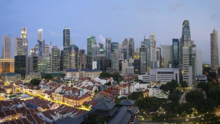 Singapore City Skyline And Chinatown Area at Blue Hour Panorama photo