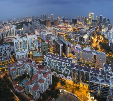 Singapore Skyline Along Singapore River at Blue Hour