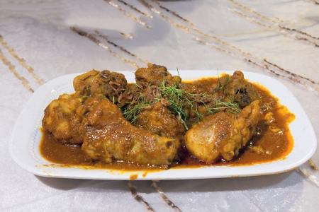 curry chicken: Nyonya Peranakan Chicken Curry Kapitan Dish Stock Photo