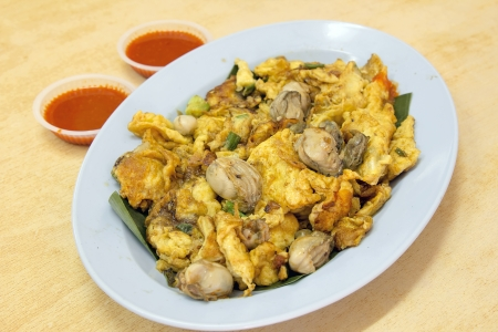 chien: Southeasat Asian Fried Baby Oyster Omelette Oh Chien with Chili Sauce
