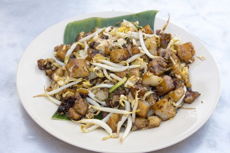 carrot cake: Penang Malaysia Fried Rice Carrot Cake with Bean Sprouts Char Koay Kak Local Dish Stock Photo