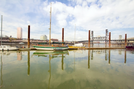 Marina Along Willamette River with Steel Bridge in Portland Oregon photo