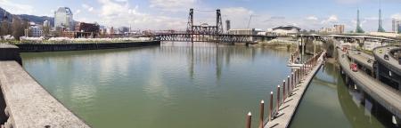eastbank: Waterfront Park and Eastbank Esplanade Along Willamette River from Burnside Bridge Portland Oregon Panorama