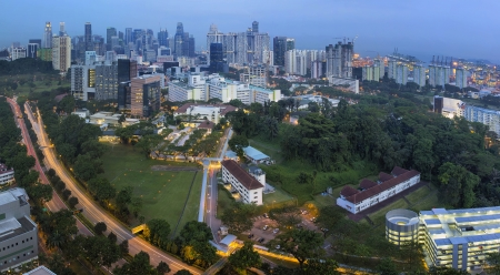hdb: Singapore City Skyline with Bukit Timah Central Expressway CTE at Evening Blue Hour Panorama Stock Photo