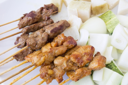Mutton and Chicken Satay with Chopped Cucumbers Onions and Ketupat Rice Cake Closeup