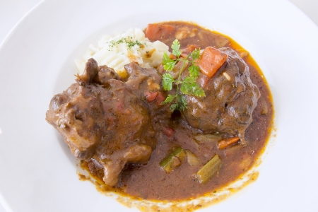 beef stew: Ox Tail Beef Stew with Mashed Potatoes Closeup