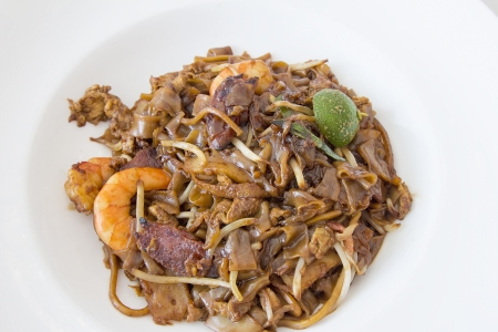 Singapore Char Kway Teow Rice Noodle Stir Fry with Prawns Chinese Sausage and Fishcake Stock Photo - 18868516