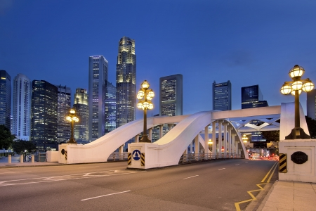 esplanade: Singapore Central Business District  CBD  City Skyline by Elgin Bridge at Blue Hour