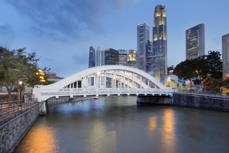 central bank: Singapore Central Business District  CBD  City Skyline by Elgin Bridge Over Singapore River at Blue Hour