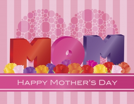 Happy Mothers Day MOM Alphabets with Heart Shape Polka Dots and Roses on Pink Stripes Pattern Background Illustration Vector