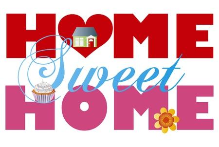 주택의 컵 케이크와 꽃 홈 스위트 홈 알파벳 문자는 그림 흰색 배경에 고립