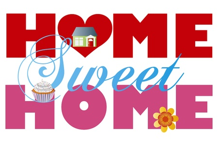 Home Sweet Home Alphabet Letters with House Cupcake and Flower Isolated on White Background Illustration