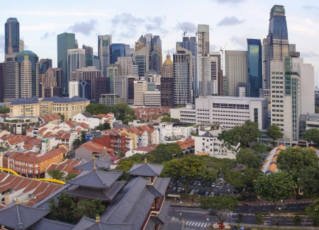 historic district: Singapore City Central Business District  CBD  Over Chinatown Area with Old Houses and Chinese Temple