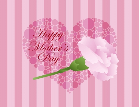 perennial: Happy Mothers Day Pink Carnation Flower with Green Stalk and Polka Dots Heart on Pink Stripes Background Illustration Illustration