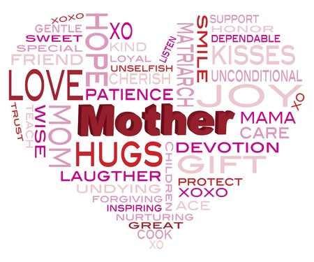 curare teneramente: Happy Mothers Day Word Cloud a forma di cuore silhouette isolato su sfondo bianco illustrazione Vettoriali