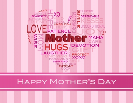 cherish: Happy Mothers Day Word Cloud a forma di cuore Silhouette su bande di colore rosa illustrazione sfondo Vettoriali