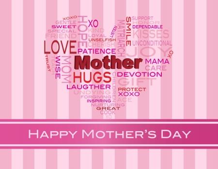 curare teneramente: Happy Mothers Day Word Cloud a forma di cuore Silhouette su bande di colore rosa illustrazione sfondo Vettoriali