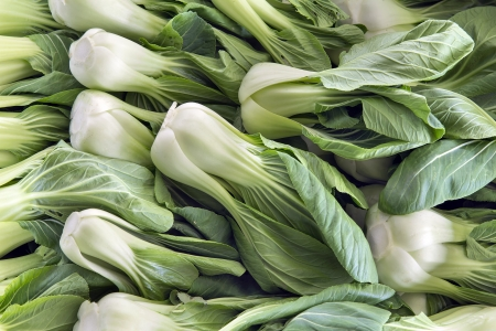 Chinese Cabbage Bok Choy White Vegetables at Wet Market in Southeast Asia