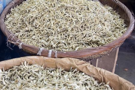 fish selling: Basket of Ikan Bilis Dried Anchovies Fish Selling at Southeast Asia Market