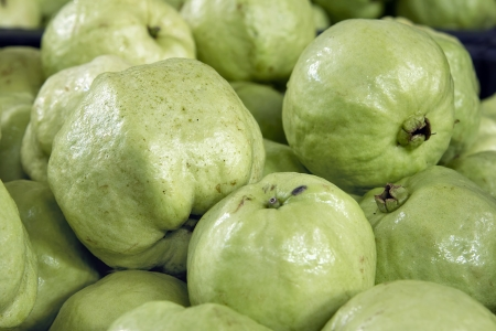 Green Apple Guavas in Southeast Asian Market Closeup