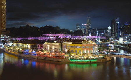 quayside: Nightlife at Clarke Quay Along Singapore River at Blue Hour Panorama Aerial View