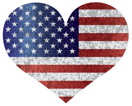 fourth of july: Fourth of July USA Flag in Heart Shape with Texture Illustration Illustration