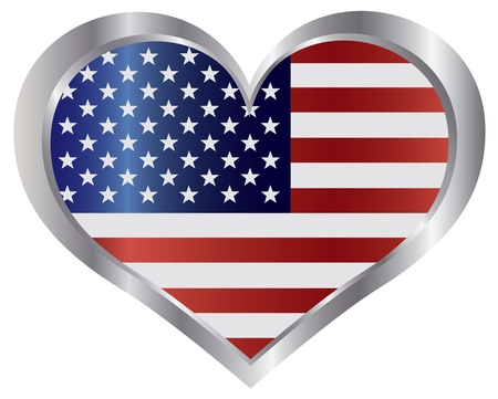 Fourth of July USA Flag in Heart Shape Metal Border Illustration Vector
