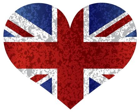 England Great Britain Union Jack Flag Heat Shape with Texture Illustration
