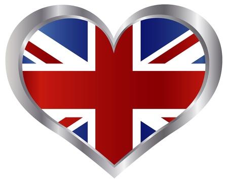 union flag: Union Jack England Flag in Heart Shape Metal Border Illustration