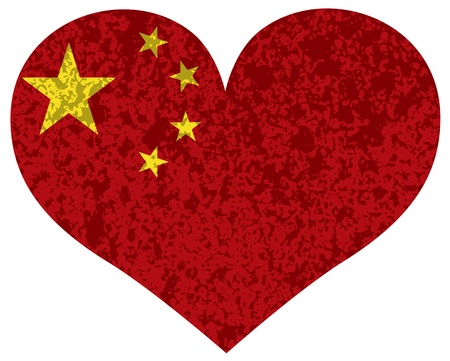 Peoples Republic of China Flag in Heart Shape Silhouette Textured Background Illustration Vector