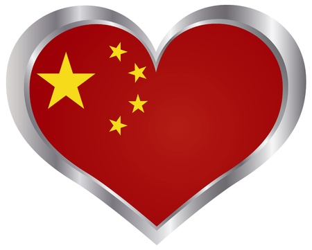 china flag: Peoples Republic of China Flag in Heart Shape Silhouette Metal Frame Background Illustration