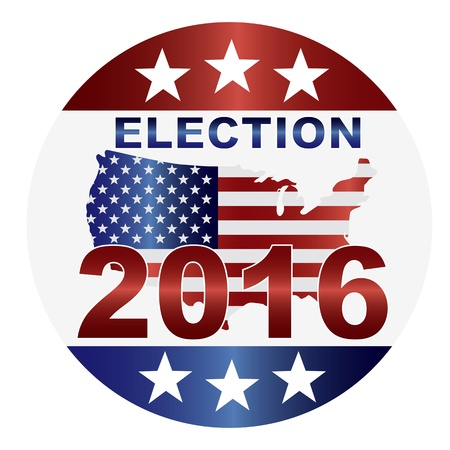 Election 2016 with USA Flag in Map Silhouette Illustration Vector