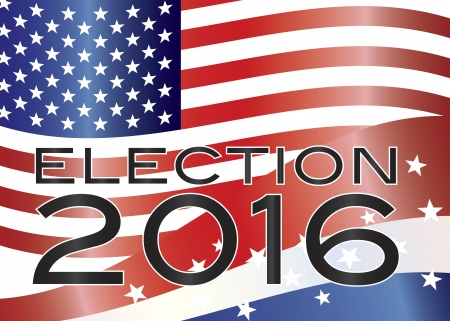 senate: Election 2016 with Stars and Stripes and US Flag Background Illustration