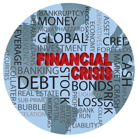 stock market crash: World Financial Crisis 3D in Red Word Cloud Illustration in World Globe Background