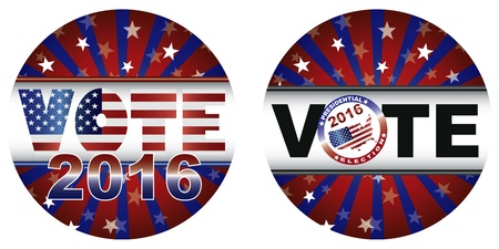gop: Vote 2016 Presidential Election Buttons with Stars and Stripes Sunburst Illustration