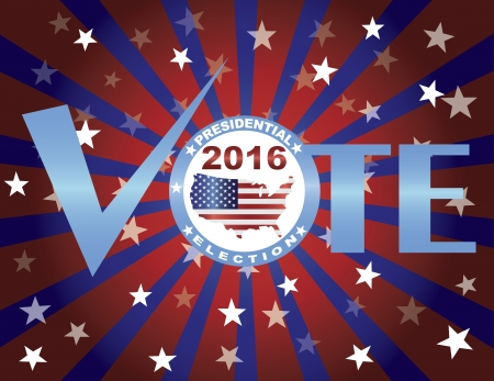 presidential election: Vote 2016 Presidential Election Red White and Blue Stars Stripes Sun Rays Banner Illustration