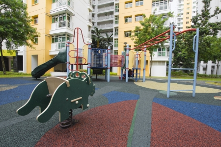 bar area: Singapore Public Housing Apartments Childrens Playground in Punggol District Stock Photo