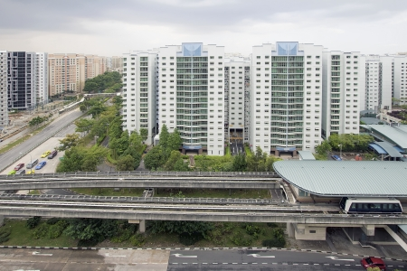 Singapore Light Rail Train Station in Punggol Housing District