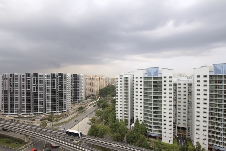 Singapore Planned Community with Private and Government Public Housing and Transportation photo