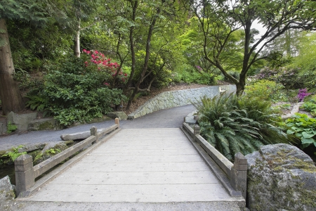 Foot Bridge across Along Hiking Trail at Crystal Springs Rhododendron Garden in Spring Season photo
