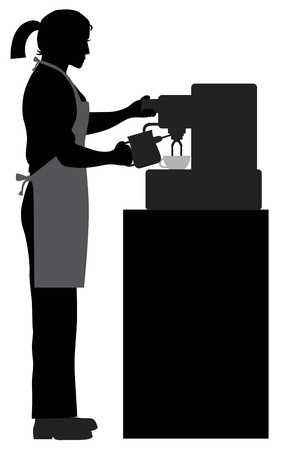 caffe: Female Coffee Bartender Barista Silhouette Making Espresso and Steaming Milk with Espresso Machine Illustration