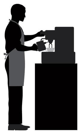 Homme Coffee Barista Espresso et Silhouette Faire mousser le lait avec la machine à expresso Illustration Banque d'images - 19707391