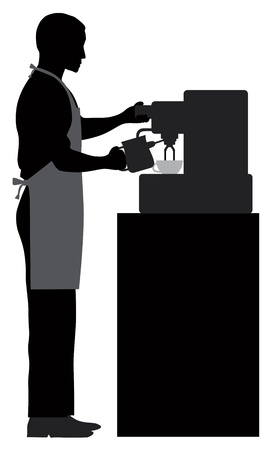 caffe: Male Coffee Barista Silhouette Making Espresso and Steaming Milk with Espresso Machine Illustration Illustration