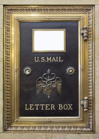 lockbox: Antique Brass US Mail Letter Box in Historic Building