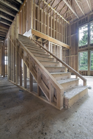 hangers: Wood Stud Framing for Staircase in New House Construction