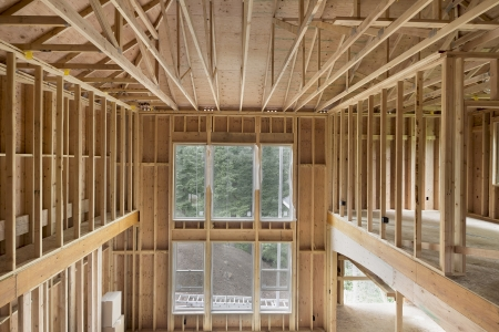 hangers: New Construction Home Two-Storey High Ceiling Family Room Wood Stud Framing with Windows