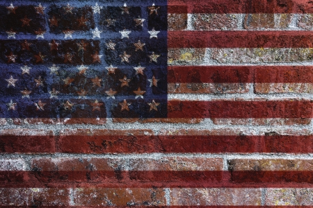 USA American Flag on Textured Grunge Brick Wall Background Stock Photo - 19707432