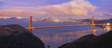 San Francisco Northern California Golden Gate Bridge at Blue Hour with Cumulus Clouds Panorama photo