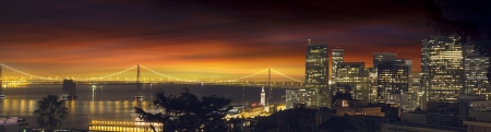 san francisco bay: San Francisco Northern California City Skyline and Oakland Bay Bridge at Sunset Panorama